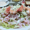Swan Oyster Depot - Combination (prawn, shrimp and crab) salad served with bread and butter, Louie sauce, and a table side mixed oil & vinegar dressing.