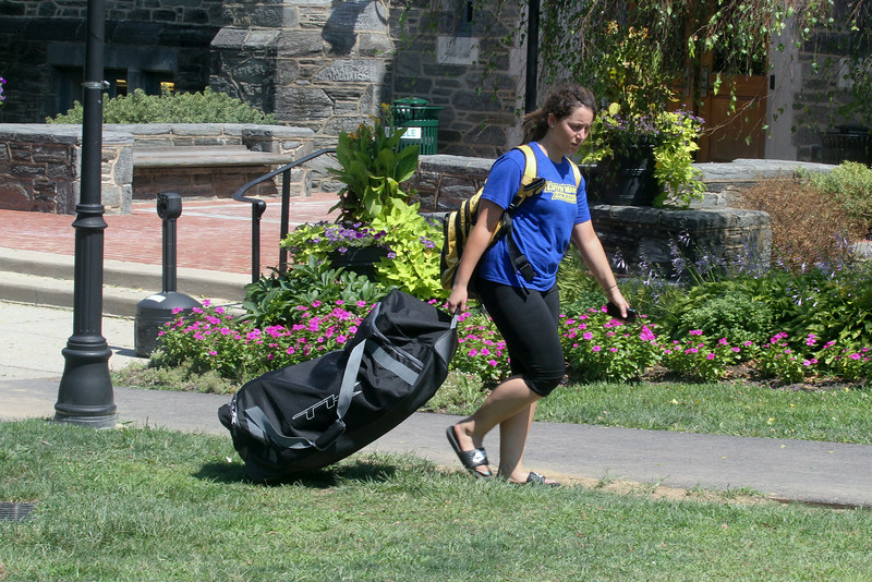Alex Weinfeld '16 returns from field hockey practice.<br /> Photo Credit: Paola Nogueras