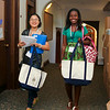 Roomates Xiaoyang Chen '18 (left) from China and Christabel Koomson '18 (right) from Ghana walking to their room in Pem.<br /> Photo Credit: Paola Nogueras