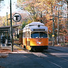 MBTA PCCs at Capen Street on the Mattapan Line in Milton. Taken with Pentax 67 on Kodak Ektar.