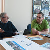 140214 3A Ent  JOED VIERA/STAFF PHOTOGRAPHER-Lockport, NY-Tony Sammarco(left) and Craig Bacon(right) speak to LUS&J reporter Joe Olenick about plans for the Fallen Heroes Memorial site on Friday February 14th, 2014.