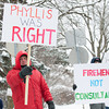 140211 PROTEST  JOED VIERA/STAFF PHOTOGRAPHER-Lockport, NY- Emergency Medical Technician's and Firefighters protest in front of the Lockport Country Club during Mayor Tucker's state of the city address on Tuesday February 11th, 2014.