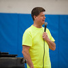 "140214 3A Ent  JOED VIERA/STAFF PHOTOGRAPHER-Newfane, NY-Bob Holmes ""the one man volleyball team"" speaks to a Newfane assembly before facing off against Newfane High School students and delivering an anti bullying message on Friday February 14th, 2014. Holmes defeated the four teams that were pitted against him. One team included all of the guys in Newfane's junior and senior classes."