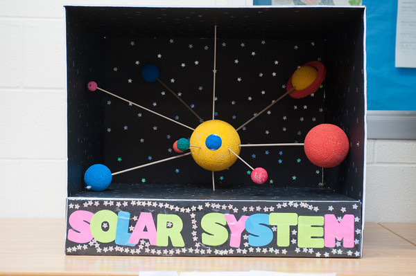140228 Newfane Science JOED VIERA/STAFF PHOTOGRAPHER-Newfane, NY-A Solar system model is one of many on display at the Newfane Science Fair on Friday February 28th, 2014.