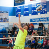 "140214 3A Ent  JOED VIERA/STAFF PHOTOGRAPHER-Newfane, NY-  Bob Holmes ""the one man volleyball team"" misses a shot on Friday February 14th, 2014. One team included all the guys in Newfane's junior and senior classes."