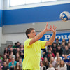 "140214 3A Ent  JOED VIERA/STAFF PHOTOGRAPHER-Newfane, NY-Bob Holmes ""the one man volleyball team"" faces of against Newfane High School students before delivering an anti bullying message to the entire school on Friday February 14th, 2014. Holmes defeated the four teams that were pitted against him. One team included all the guys in Newfane's junior and senior classes."
