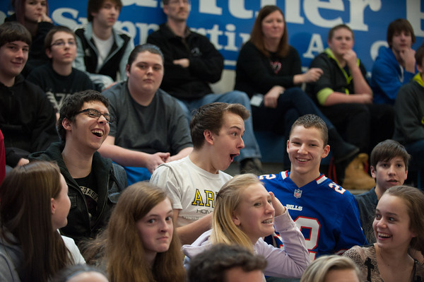 """140214 3A Ent  JOED VIERA/STAFF PHOTOGRAPHER-Newfane, NY-Newfane Freshman react to a volleyball game beween Bob Holmes """"the one man volleyball team""""  and Newfane's boy team on Friday February 14th, 2014. Holmes defeated the four teams that were pitted against him. One team included all of the guys in Newfane's junior and senior classes."""