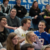 "140214 3A Ent  JOED VIERA/STAFF PHOTOGRAPHER-Newfane, NY-Newfane Freshman react to a volleyball game beween Bob Holmes ""the one man volleyball team""  and Newfane's boy team on Friday February 14th, 2014. Holmes defeated the four teams that were pitted against him. One team included all of the guys in Newfane's junior and senior classes."
