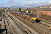 7 February 2014 :: 66113 passing East Usk Yard, Newport  with 4C55  empty coal from Aberthaw to Avonmouth