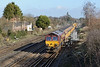 2 February 2014 :: 66027 is seen at Worting with Engineers train 6X02 which included some of the yellow sloping point carriers, from Romsey to Eastleigh via Woking where the locomotive ran round