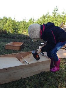 Amelia takes a turn with the sledge hammer