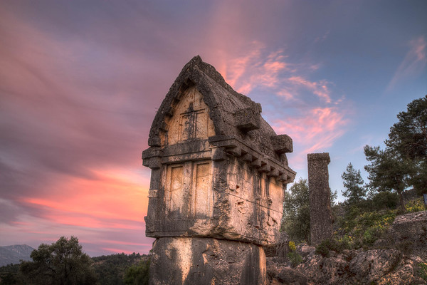 Fethiye and the Turquoise Coast - Lycian Tomb at Sunset. Pinara, Turkey