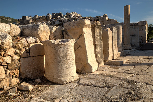 Writing on the columns, Ruins at Patara