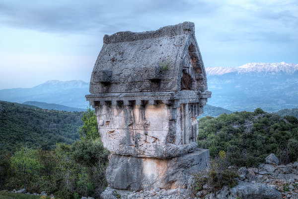 Lycian Tomb in Blue Twilight. Pinara, Turkey.