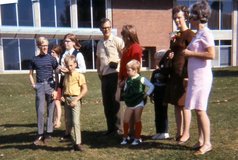 At Roberts in 1969, from left to right:  Wally, Jan, Steve Logan, Uncle Jack, Judy, Susan, Scott, Mom and Aunt Katie