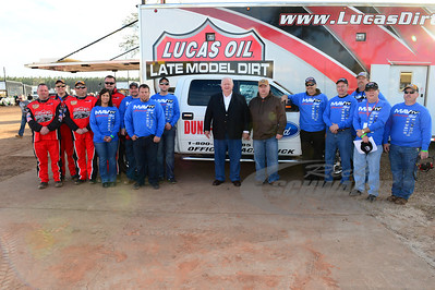 Lucas Oil Late Model Dirt Series Officials with the Dunn Benson Ford Pace Truck