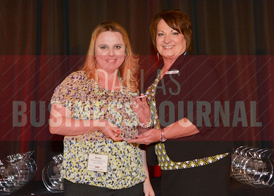 Fusion Packaging was honored, Becky White-Palaparthi accepted the award from Healthiest Employer's Debbie Marshall.