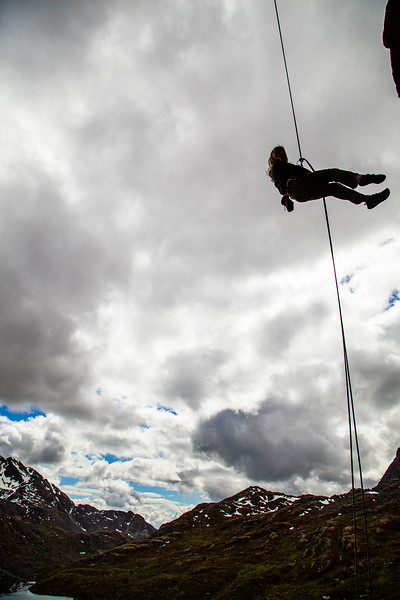 The big direct rappel from Rise at the High Dive in Reed Valley.