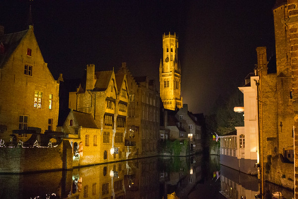 Canal And Clock Tower,  Brugges
