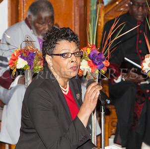 Baptist Temple Church Administrative Assistant Dardanella Russell welcomes everyone to the Christian Ministerial Fellowship of Newburgh & Vicinity's 45th Annual Martin Luther King Jr Celebration on Wednesday, January 15, 2014 at Baptist Temple Church in Newburgh, NY. Hudson Valley Press/CHUCK STEWART, JR.