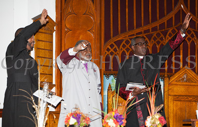 Elder Dextro Tiller, Bishop-Elect Dr. Coleman Briggs and Bishop Jeffrey Woody react to Guest Preacher Rev. Dr. Tony Hart at the Christian Ministerial Fellowship of Newburgh & Vicinity's 45th Annual Martin Luther King Jr Celebration on Wednesday, January 15, 2014 at Baptist Temple Church in Newburgh, NY. Hudson Valley Press/CHUCK STEWART, JR.