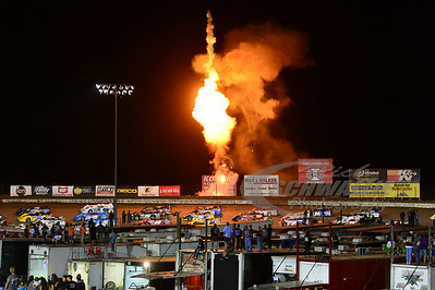 I-80 Speedway pyro going off during the 4-wide salute