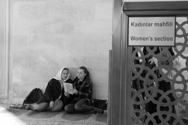 Turkey is unique in the world of Islam in that there is a separation of mosque and state. Women, I'm told, are free to embrace western style or follow more traditional fashions.  At the mosque however, the separation is well defined. The country is 95+% Moslem.