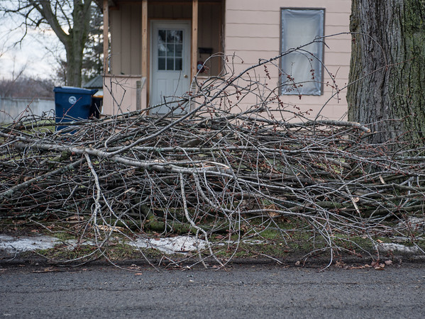 140114 Branches JOED VIERA/STAFF PHOTOGRAPHER Lockport,NY- Branches on the side of the road on Prospect St. wait for pick up on Tuesday.