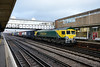 17 January 2014 :: After stopping for a crew change 66504 is seen at  Eastleigh with 4O27 from Garston to Southampton