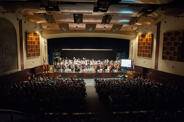 140121 BPO JOED VIERA/STAFF PHOTOGRAPHER Lockport,NY- The Buffalo Philharmonic Orchestra performs in front of Emmet Belknap fifth- and sixth- graders at Lockport High School on Tuesday, January 21st.