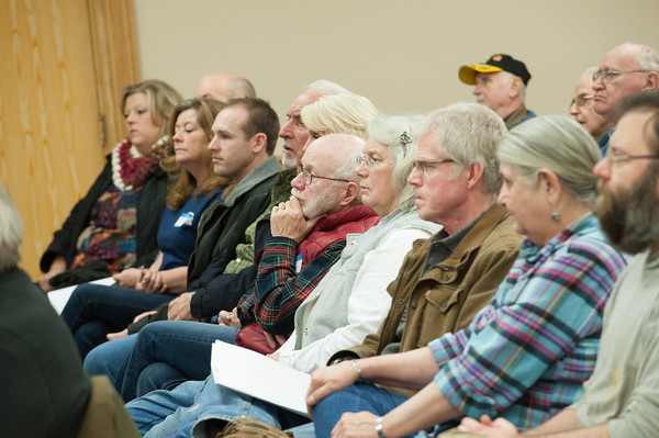 140121 Lafarge JOED VIERA/STAFF PHOTOGRAPHER Lockport,NY- Concerned neigbors listen to Lafarge's presentation about their expansion plans at a public information meeting on Tuesday, January 21st.