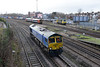 """17 January 2014 :: Bardon Blue 66623 """"Bill Bolsover"""" runs light from Maritime to Eastleigh at Millbrook with 70019 and a South West Trains Class 158 in the background"""