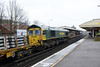 24 January 2014 :: At Basingstoke is 66605 working a VSTP (4M18) of scrap sleepers from Eastleigh to Washwood Heath RMC