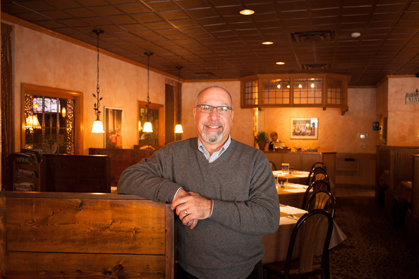 140122 Village Eatery JOED VIERA/STAFF PHOTOGRAPHER Lockport,NY-Restaurant owner Peter Calieri at the Village Eatery on Monday, January 22nd. Calieri's restaurant recently celebrated their 35th year of being open on December 26th.