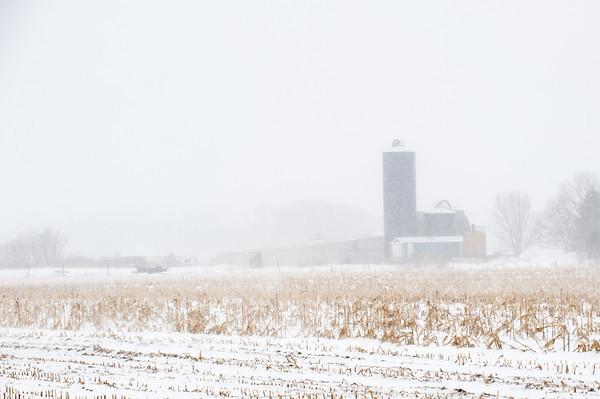 140129 3A Ent JOED VIERA/STAFF PHOTOGRAPHER Hartland, NY- Snow falls on a farm in Hartland on Monday, January 29th.