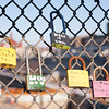 140117 Locking Lockport JOED VIERA/STAFF PHOTOGRAPHER Lockport,NY- Locks have been starting to pop up on the Big Bridge over the canal on Friday, January 17th. The locks are a project started by Ellen Martin and were inspired by locks on bridges seen by the Notre Dame Cathedral in Paris, France.