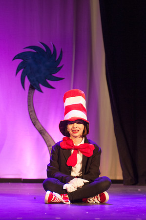 140128 Seuss JOED VIERA/STAFF PHOTOGRAPHER Lockport, NY- Lauren Miller rehearses her performance as Cat in the Hat for Seussical, Jr. at the Palace Theater on Tuesday, January 28th.