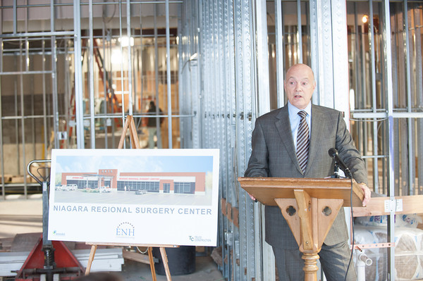 140116 Hospital JOED VIERA/STAFF PHOTOGRAPHER Lockport,NY- Eastern Niagara Hospital Board Chairman George Muscato speaks at the site of Eastern Niagara Hospital's Regional Surgery Center on Thursday.