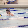 131220 NEWFANE SWIMMING  JOED VIERA/STAFF PHOTOGRAPHER Newfane, NY-Newfane sophmore Allie DeBiase swims the breaststroke portion of the girls 200 yard medley relay on Friday Dec 20th, 2013. Her relay team won first place with a time of 2:11:06