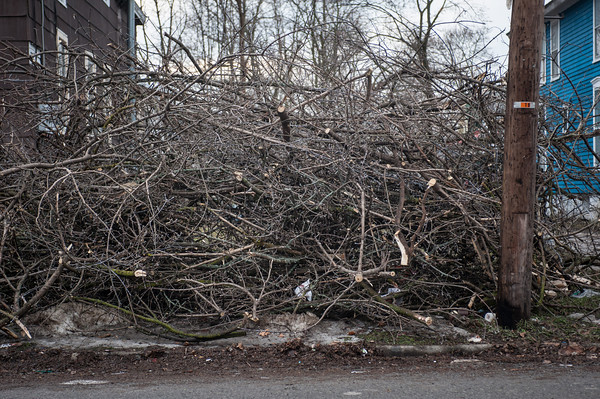 140114 Branches JOED VIERA/STAFF PHOTOGRAPHER Lockport,NY- Branches on the side of the road on Washburn St. wait for pick up on Tuesday.