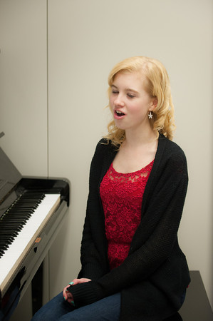 140115 Singer JOED VIERA/STAFF PHOTOGRAPHER Pendleton,NY- Starpoint Junior Holly Krupski practices singing   for a national event at Carnegie Hall on Wednesday.