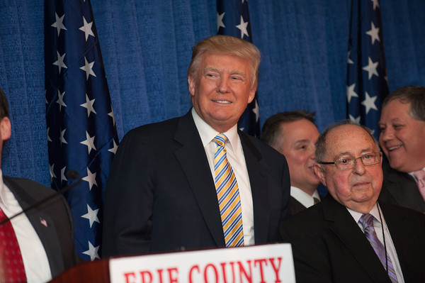 140131 Trump JOED VIERA/STAFF PHOTOGRAPHER Depew,NY- Donald Trump speaks at the Erie County Republican Committee fundraiser at Salvatore's Italian Gardens in Depew, NY on January 31st, 2014. Depew is 2 miles east of Buffalo, NY. Friday's fundraiser was the largest GOP fundraiser in Western New York history.