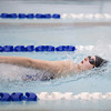 131220 NEWFANE SWIMMING  JOED VIERA/STAFF PHOTOGRAPHER Newfane, NY-Newfane senior Kate Bochnewetch swims the backstroke portion of the girls 200 yard medley relay on Friday Dec 20th, 2013. Her relay team won first place with a time of 2:11:06