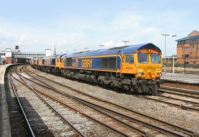 66737 Gloucester 12/07/14 0X66 Newport to Doncaster Roberts Road with newly delivered 66752, 66753, 66754, 66756 and 66755 (with the train running 50+ early, the planned trip to South Wales was changed to Gloucester at the last minute)