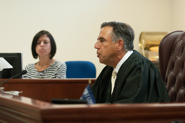 140414 JOED VIERA/STAFF PHOTOGRAPHER-Lockport, NY- Judge Richard C. Kloch reads Former Town of Niagara Supervisor Steven Richards his sentence on Monday, July 14th.