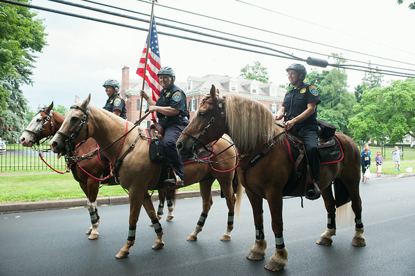 140703 JOED VIERA/STAFF PHOTOGRAPHER-Lockport, NY-Niagara County Sheriffs mounted patrol takes part in  the Independance Day Parade on July 3, 2014.