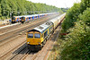 26 July 2014 :: 66743 pulls away from a signal stop outside Basingstoke with 1Z21 GBrf train from Ipswich to Bournemouth
