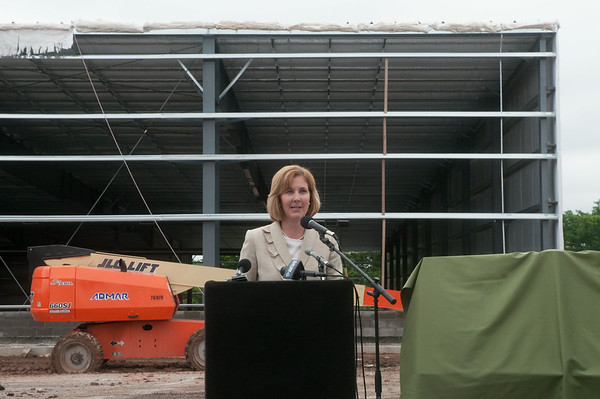 140709 JOED VIERA/STAFF PHOTOGRAPHER-Lockport, NY-Mayor Anne McCaffreyspeaks at an event unvieling the name of the Lockport's new ice arena on Wednesday, July 8th.