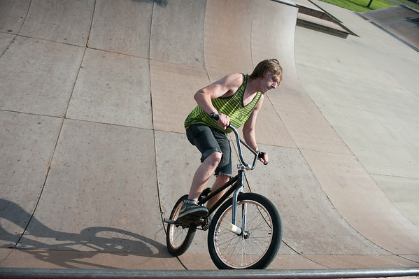 140702 JOED VIERA/STAFF PHOTOGRAPHER-Lockport, NY-Nathan Lefort rides around Outwater Park's skate park. July 1, 2014.