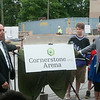 "140709 JOED VIERA/STAFF PHOTOGRAPHER-Lockport, NY-David Nimi and John Ottaviano unveil the name of Lockport's new ice arena ""Cornerstone Arena"" on Wednesday, July 8th."